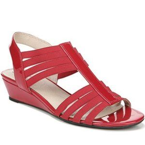 New Women's Red Strappy Wedge Sandal